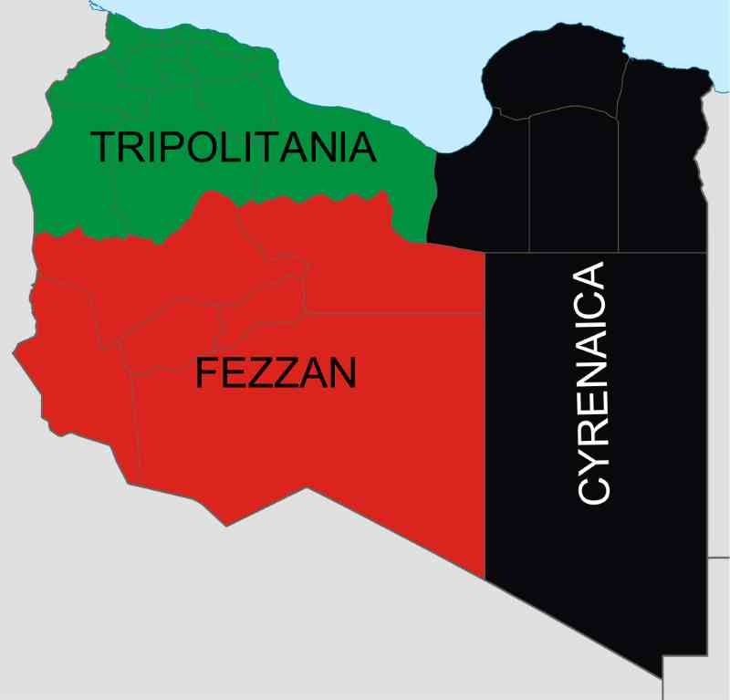 Three regions of Libya